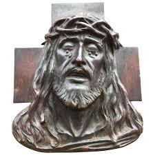 deco plaque metal early 1900 art deco religious bronze wall plaque in relief