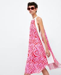 halter neck printed halter neck dress dress time woman zara united states