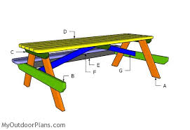 Plans For Building A Picnic Table With Separate Benches by 8 Foot Picnic Table Plans Myoutdoorplans Free Woodworking