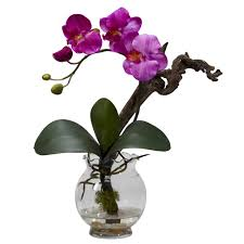 mini phalaenopsis w fluted vase silk flower arrangement nearly