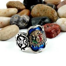 Rock Band Ottoman Ottoman Coat Of Arms Blue Enamel Band Silver Mens Ring Yussuk