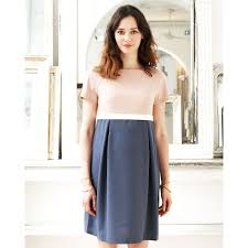 cameo clothing two tone empire line cameo maternity dress blue and light pink
