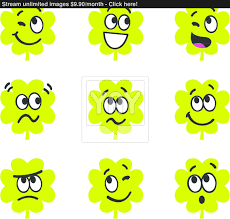 cartoon four leaf clovers with expression isolate on white