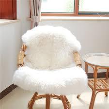 fur chair cover warm carpet soft sheepskin chair cover seat pad plain skin