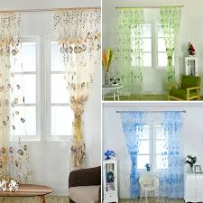 Home Decor Ebay Tulip Floral Window Net Curtain Slot Top Panel Beaded Voile