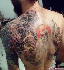 stylish dia de los muertos tattoo on back tattoo viewer com
