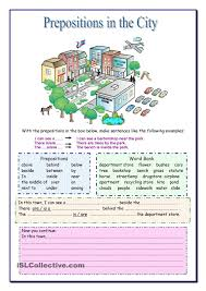 prepositions in the city for beginners pinterest