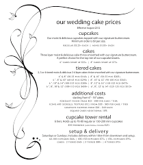bliss cupcakes weddings price list