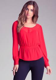 bebe blouses lyst bebe zipup chiffon blouse in