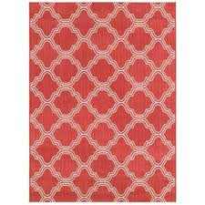 5x7 Outdoor Area Rugs Coral Red Fretwork Indoor Outdoor Area Rug