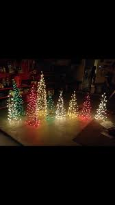 mini lights for crafts christmas yard decor trees made out of tomato cages and mini lights