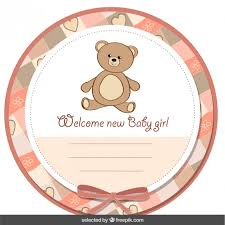 teddy baby shower baby shower label with teddy vector free