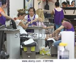 rhea durham treats herself to a pampering session at a nail salon