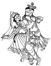 krishna clipart colouring page pencil and in color krishna