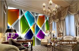 living room cafe custom modern 3d wallpaper mural european glinting color glass wall
