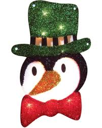 on sale now 30 lighted tinsel penguin in top hat