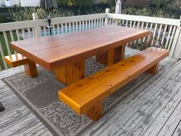 red cedar benches to complete my previous patio table project