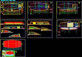 design center cad convention center oval structure 2d dwg design section for autocad