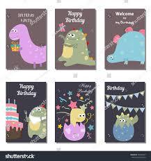 set beautiful birthday invitation cards decorated stock vector