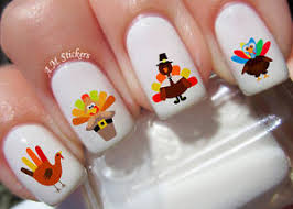 turkey thanksgiving nail stickers transfers decals set of 38