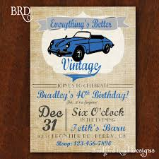 vintage car birthday invitation everything u0027s better vintage 5x7