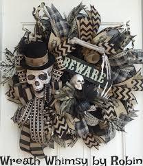 primitive halloween skeleton black u0026 tan deco mesh wreath