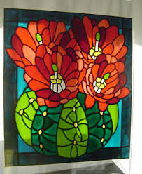 cactus stained glass effect window painting cling 34 x 30 cm