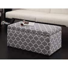 foot of bed storage ottoman emily rectangular storage ottoman gray trellis furniture walmart