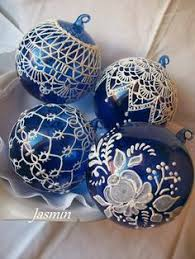 and white ornament painted glass ornament