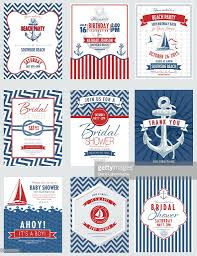 Nautical Theme Nautical Theme Party Invitations Set Vector Art Getty Images