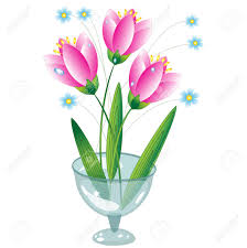 Flowers Glass Vase Flowers In The Glass Vase Royalty Free Cliparts Vectors And