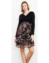 maternal america crossover lilac floral black maternity dress