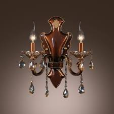 Two Light Wall Sconce Plate And Drops Add Charm To Delightful Two Light Wall