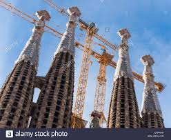 towers of the famous church of sagrada familia in barcelona stock
