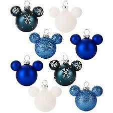 ornament set mickey mouse ears mini blue snowflake