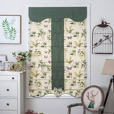 green botanical butterfly rustic roman curtains