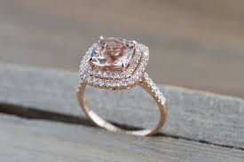 pink morganite 14k gold cushion pink morganite diamond halo