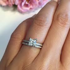 princess cut wedding set 1 ctw princess cut wedding set made diamond simulants