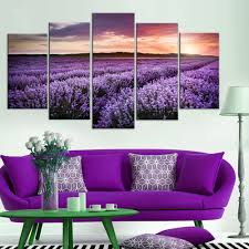 online get cheap oil field posters aliexpress com alibaba group modern canvas home decor frame modular painting wall art printed poster 5 panel provence lavender field