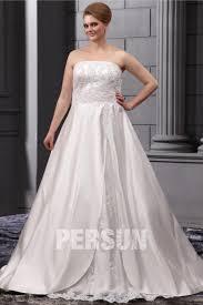 robe de mari e satin robe de mariée grande taille ligne a sans bretelle avec appliques