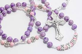 purple rosary purple pink communion rosary