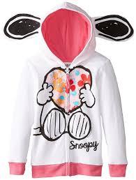 snoopy halloween shirt amazon com peanuts girls u0027 snoopy fleece hoodie with ears clothing