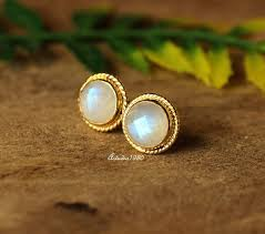 gold earrings studs buy bridal rainbow moonstone 18k gold moonstone earrings studs