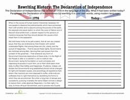 Declaration Of Independence Worksheet Answers Paraphrase The Declaration Of Independence Worksheet Education Com