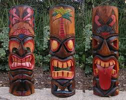 tribal tiki bar painted ornaments carved polynesian tiki mask