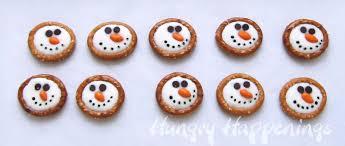 winter themed treats frosty snowman pretzels hungry happenings