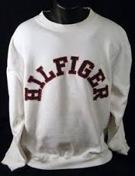 tommy hilfiger small box logo white l s crewneck sweatshirt large