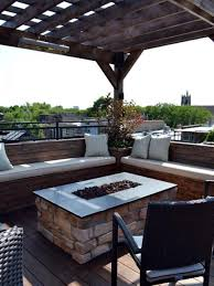 Apartment Backyard Ideas by Exterior Apartment Winter Patio Idea With Pergola And Brick Fire