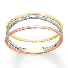 tricolor ring spiral ring 14k tri color gold
