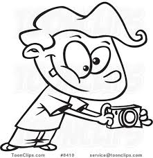 cartoon black and white line drawing of a boy using his camera